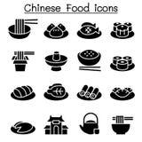 Insieme cinese dell'icona dell'alimento Fotografia Stock