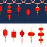 Insieme cinese delle icone della lanterna Confine senza cuciture di vettore con le lampade rosse Decorazione tradizionale di fest illustrazione di stock