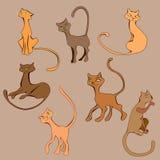 Insieme colorato del gatto del fumetto illustrazione di stock