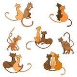 Insieme colorato del gatto del fumetto royalty illustrazione gratis