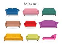 Insieme colorato del sofà illustrazione di stock