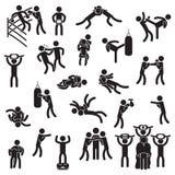 Insieme combattente dell'icona Pugilato, arti marziali miste, lottare ed altri Vettore illustrazione vettoriale