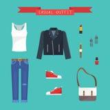Insieme comodo casuale dell'attrezzatura di stile di sport dell'abbigliamento delle donne - illustrazione piana di vettore di sti Immagini Stock Libere da Diritti