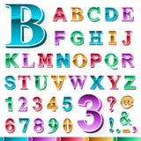 Insieme completo dell'alfabeto e dei numeri colorati illustrazione vettoriale