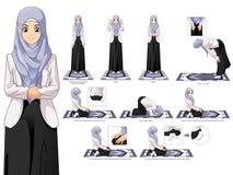 Insieme completo della guida musulmana di posizione di preghiera della donna per gradi
