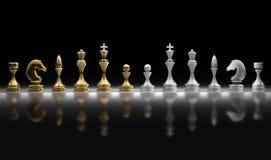 Insieme completo delle parti di scacchi Fotografia Stock Libera da Diritti