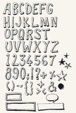 Insieme completo di alfabeto di scarabocchio Fotografie Stock Libere da Diritti