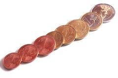 Insieme completo di euro monete Fotografia Stock Libera da Diritti