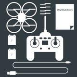 Insieme completo per quadrocopter Icone piane Immagini Stock