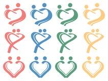 Insieme concettuale dell'icona di progettazione di simbolo di relazione umana di amore Immagine Stock