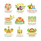 Insieme continentale di progettazione di logo di cucina, italiano, Greco, francese, giapponesi, alimento continentale tradizional Immagine Stock Libera da Diritti