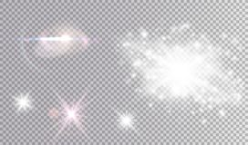 Insieme cosmico bianco e colorato di effetti della luce Immagine Stock