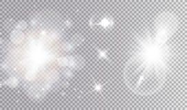 Insieme cosmico di progettazione delle luci bianche Immagine Stock Libera da Diritti