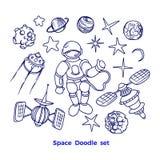 Insieme cosmico di vettore Raccolta grafica del pianeta, razzo, stella royalty illustrazione gratis