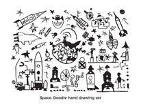 Insieme cosmico di vettore Schizzo sveglio del bambino illustrazione di stock