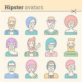 Insieme creativo degli avatar dei pantaloni a vita bassa Fotografia Stock Libera da Diritti