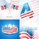 Insieme creativo del fondo americano di festa dell'indipendenza Fotografie Stock