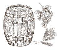 Insieme crudo per la riproduzione della birra con il barilotto di legno royalty illustrazione gratis