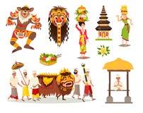 Insieme culturale tradizionale dell'illustrazione di vettore di concetti di Bali illustrazione vettoriale