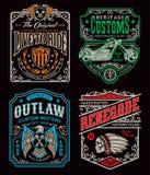 Insieme d'annata del grafico della maglietta del motociclo Fotografia Stock