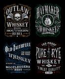 Insieme d'annata del grafico della maglietta dell'etichetta del whiskey Fotografie Stock