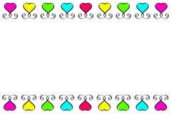 Insieme d'annata del segno giallo rosa verde blu rosso del cuore di amore Posto per testo Giorno di biglietti di S. Valentino deg fotografia stock libera da diritti