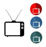 Insieme d'annata dell'icona della TV Fotografia Stock