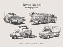 Insieme d'annata dell'illustrazione di vettore dei veicoli di servizio Fotografia Stock