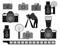 Insieme d'annata della macchina fotografica Fotografia Stock Libera da Diritti