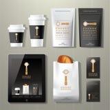 Insieme d'annata di progettazione del modello di identità corporativa della fabbrica del caffè Fotografia Stock