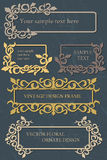 Insieme d'annata di progettazione di vettore dei telai con l'ornamento floreale Fotografia Stock Libera da Diritti