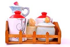 Insieme d'annata di tè e del caffè Fotografie Stock Libere da Diritti