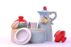Insieme d'annata di tè e del caffè Fotografia Stock