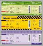 Insieme d'annata di vettore dei biglietti di viaggio del treno Immagini Stock Libere da Diritti