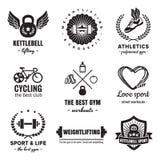 Insieme d'annata di vettore del logos di forma fisica & di sport Pantaloni a vita bassa e retro stile Fotografia Stock Libera da Diritti