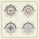 Insieme d'annata nautico della bussola Illustrazione Vettoriale
