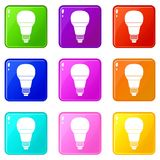 Insieme d'ardore delle icone 9 della lampadina del LED Fotografia Stock