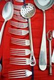 Insieme d'argento della coltelleria Fotografia Stock