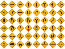 Insieme d'avvertimento di vettore dei segnali stradali Fotografie Stock