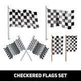 Insieme decorativo dell'icona delle bandiere a quadretti Fotografia Stock