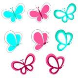 Insieme decorativo della farfalla illustrazione di stock
