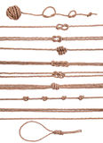 Insieme decorativo marino della raccolta degli elementi della corda con il nodo Immagini Stock Libere da Diritti