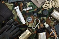 Insieme degli accessori d'annata di viaggio Fotografia Stock