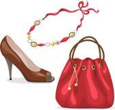 Insieme degli accessori della donna. Immagini Stock