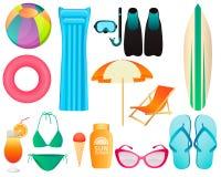 Insieme degli accessori della spiaggia Immagini Stock Libere da Diritti