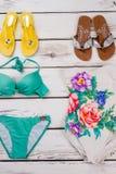 Insieme degli accessori della spiaggia delle donne Fotografia Stock Libera da Diritti