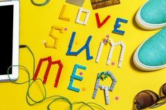 Insieme degli accessori di estate Fotografia Stock Libera da Diritti