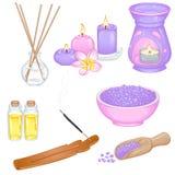 Insieme degli accessori per l'aromaterapia Immagini Stock