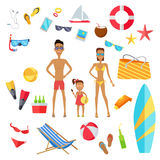 Insieme degli accessori per le vacanze estive Fotografie Stock Libere da Diritti