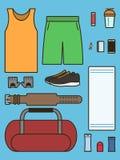 Insieme degli accessori richiesti in palestra Fotografia Stock